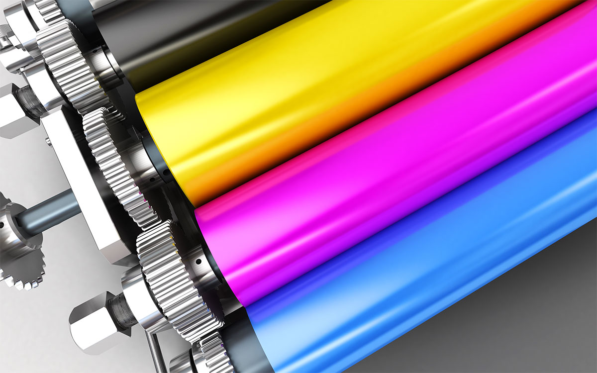 The CMYK rollers out of a photocopier type of printer